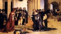 Výnimočný zázrak na Popolcovú stredu v roku 1218. Lorenzo Lotto, Sv. Dominik kriesi Napoleona Orsiniho, 1513-1516. Bergamo, Accademia Carrara